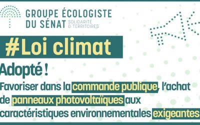 Loi Climat : Adoption de notre amendement sur  photovoltaïque