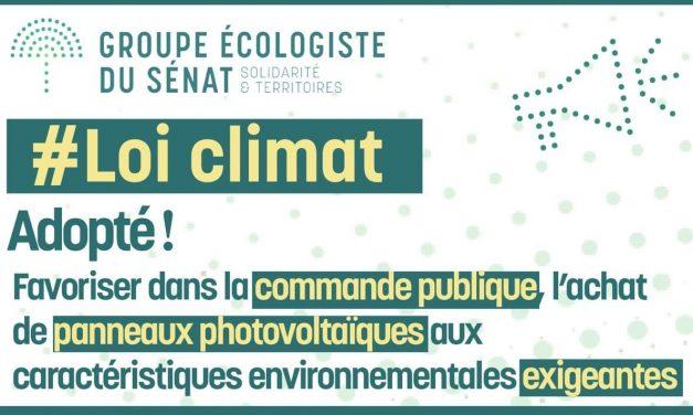 Loi Climat : Adoption de notre amendement sur le   photovoltaïque
